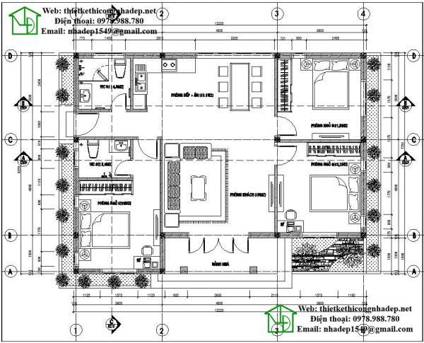 Mặt bằng nội thất mẫu nhà mái thái 1 tầng NDBT1T35