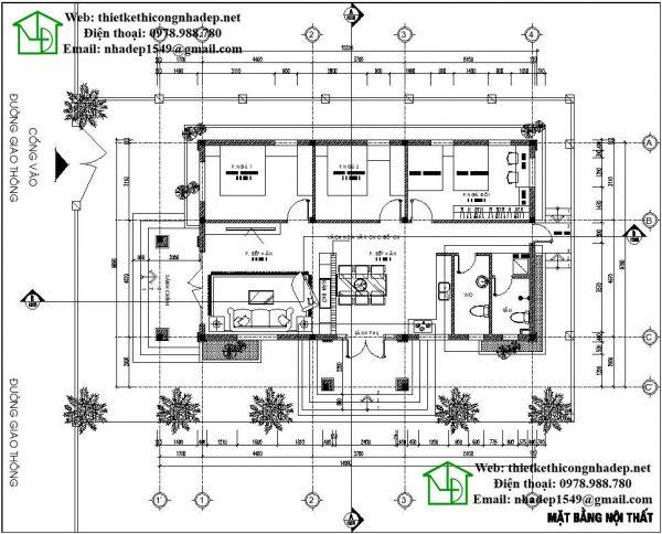 Mặt bằng nội thất nhà cấp 4 mái tôn NDNC443