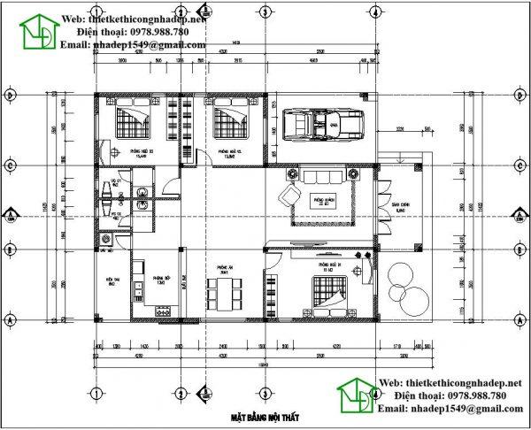 Mặt bằng nội thất nhà mái thái 1 tầng đẹp NDBT1T36