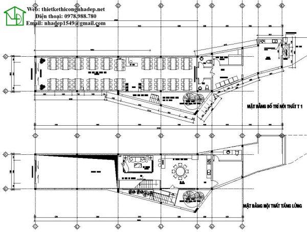 Mặt bằng tầng 1 và tầng lửng nhà phố 3 tầng NDNP3T11
