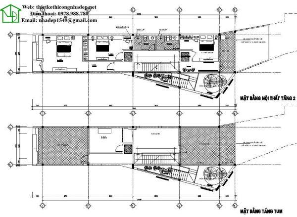 Mặt bằng tầng 2 và tầng tum nhà phố 3 tầng hiện đại NDNP3T11