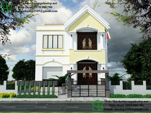 Mẫu nhà 2 tầng nông thôn, thiết kế nhà 2 tầng mái thái NDMN2T7