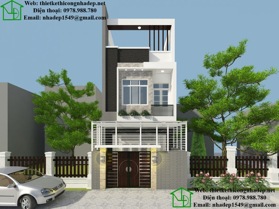 Mẫu nhà 3 tầng đẹp, thiết kế nhà ống 3 tầng tại Phan Thiết NDNP3T13