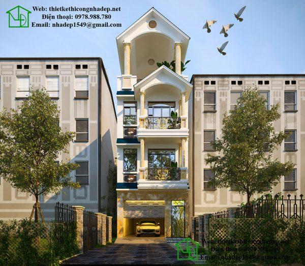 Mẫu nhà ống 4 tầng hiện đại, nhà phố 4 tầng hiện đại tại Bắc Ninh NDNP4T7