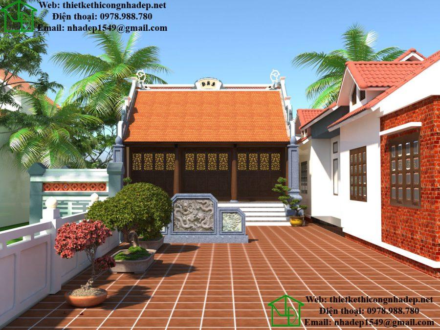 Mẫu thiết kế nhà thờ họ tộc tại Thái Bình NDNTH14