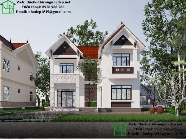 Mẫu thiết kế nhà 2 tầng mái thái, biệt thự mái thái NDMN2T6