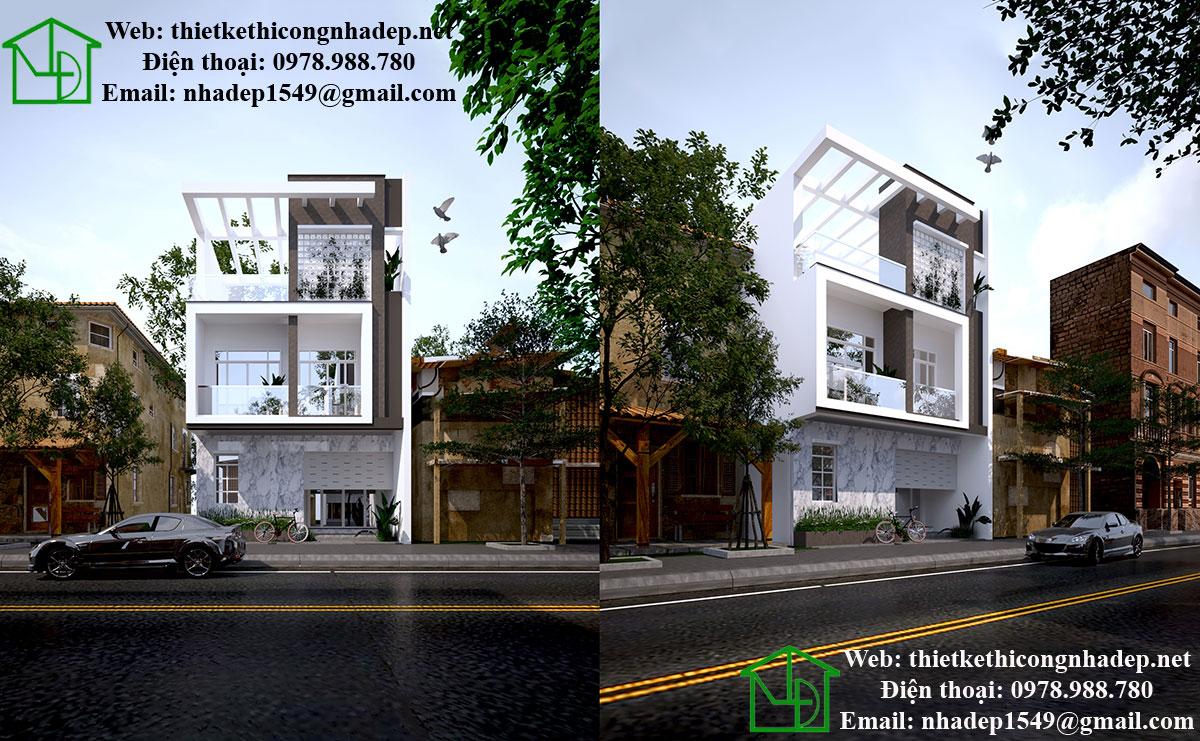 Mẫu thiết kế nhà 3 tầng đẹp hiện đại NDNP3T12