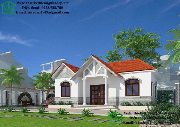Mẫu nhà mái thái 1 tầng, mẫu nhà kiểu thái đẹp NDBT1T35