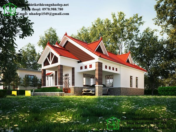Nhà mái thái 1 tầng đẹp, biệt thự 1 tầng mái thái đẹp tại Đà Lạt NDBT1T36