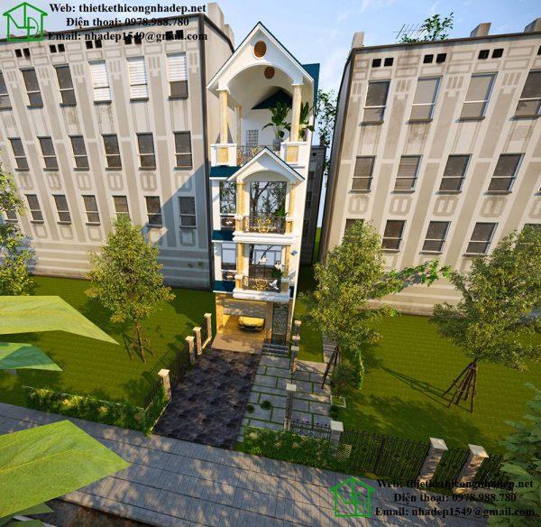 Thiết kế nhà phố 4 tầng mái thái NDNP4T7