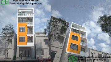 Thiết kế nhà trên đất méo, thiết kế nhà phố 5 tầng hiện đại NDNP5T2