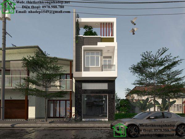 Nhà phố kết hợp cửa hàng, thiết kế nhà vừa ở vừa buôn bán NDNP3T11