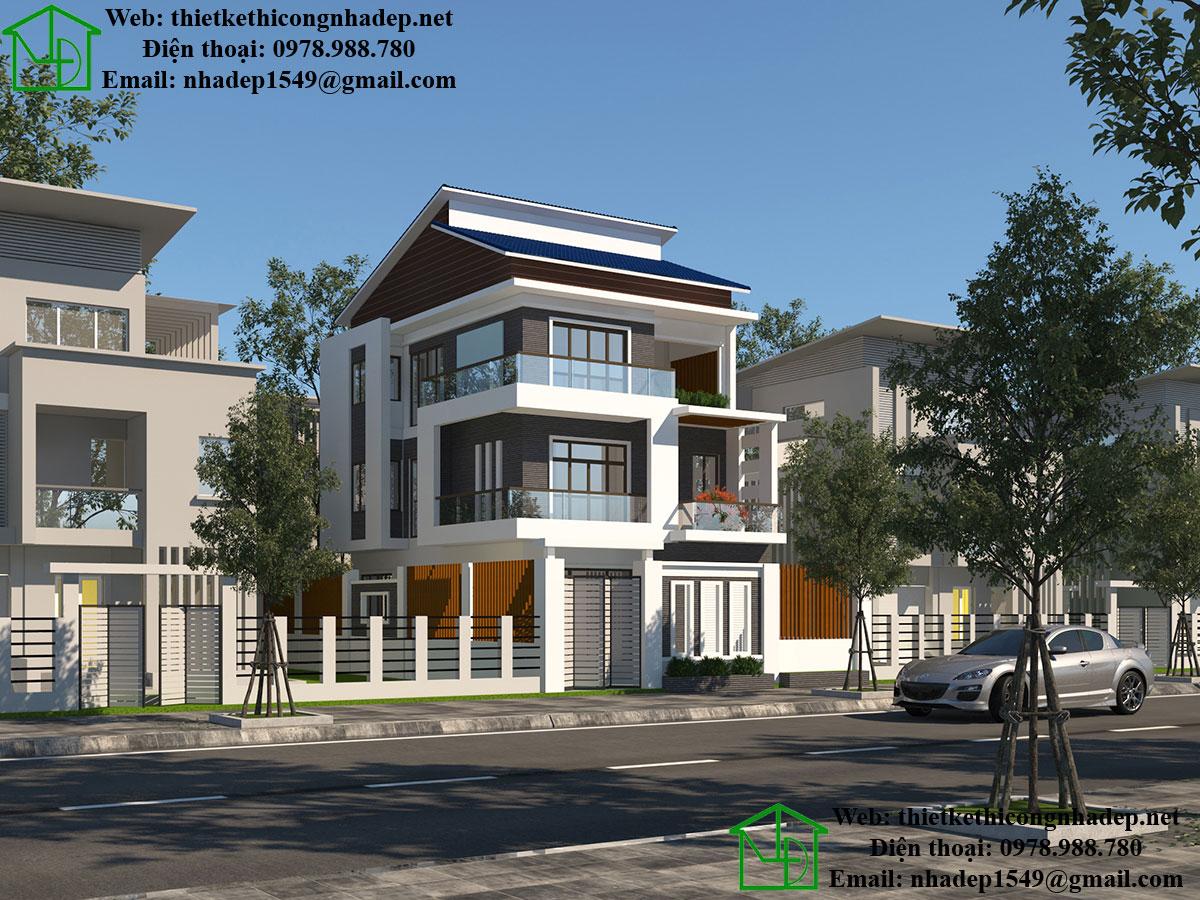Biệt thự 3 tầng mái lệch NDBT3T11