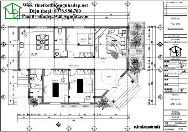 Mặt bằng nội thất kiểu nhà cấp 4 đẹp NDNC448