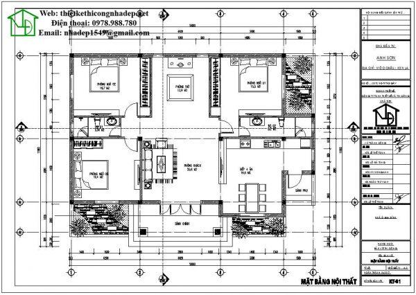 Mặt bằng nội thất nhà 1 tầng mái thái NDBT1T40