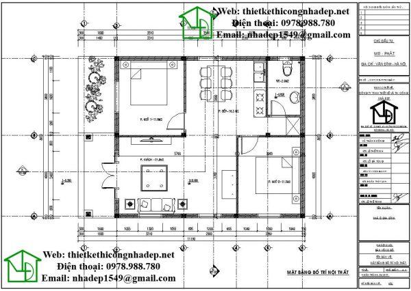 Mặt bằng nội thất nhà câp 4 đơn giản NDNC449