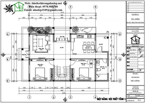 Mặt bằng nội thất tầng 1 biệt thự 2 tầng đẹp NDBT2T34
