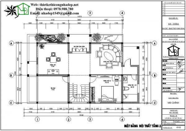 Mặt bằng nội thất tầng 2 biệt thự 2 tầng đẹp NDBT2T34