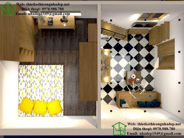 Mặt bằng nội thất tầng lửng NDNTCC9