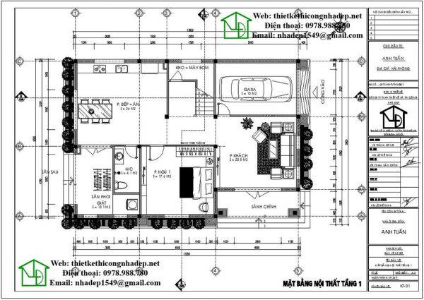 Mặt bằng tầng 1 nhà 2 tầng mái thái NDBT2T33