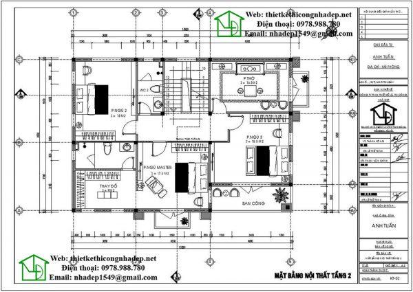 Mặt bằng tầng 2 nhà 2 tầng mái thái NDBT2T33
