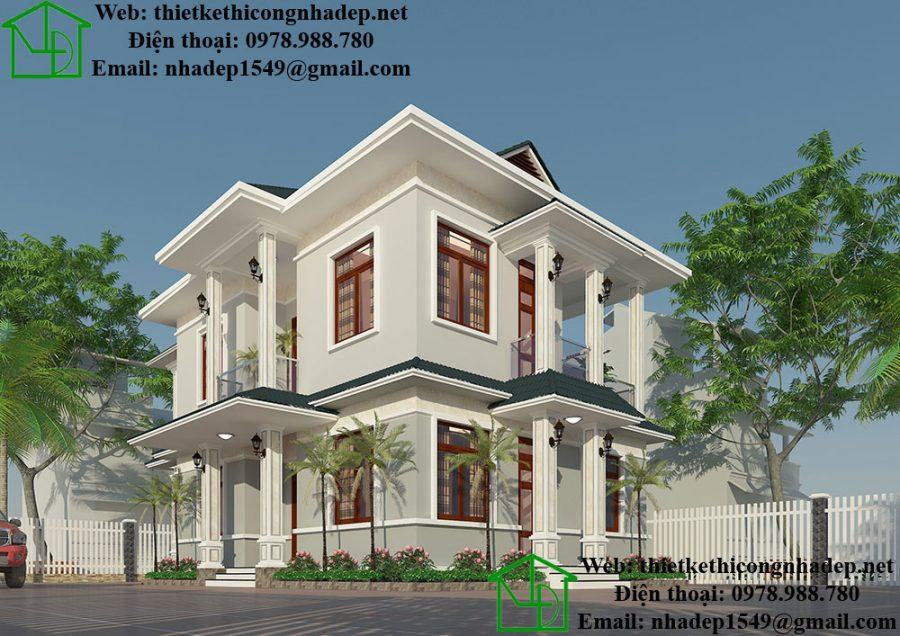 Mẫu nhà 2 tầng đơn giản, mẫu nhà 2 tầng mái thái tại Nam ĐịnhNDMN2T8