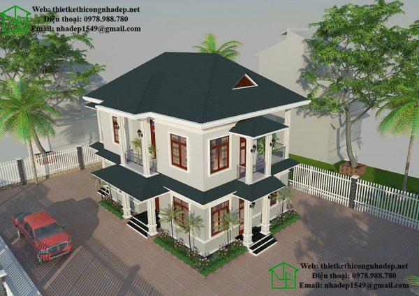 Mẫu nhà 2 tầng đơn giản ở nông thôn NDBT2T34