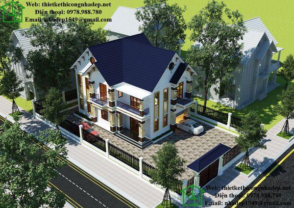 Mẫu nhà 2 tầng mái thái đẹp NDBT2T33