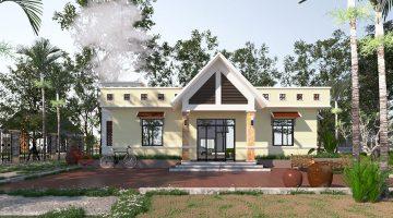 Mẫu nhà mái bằng 1 tầng, thiết kế nhà mái bằng tại Phú Thọ NDBT1T39