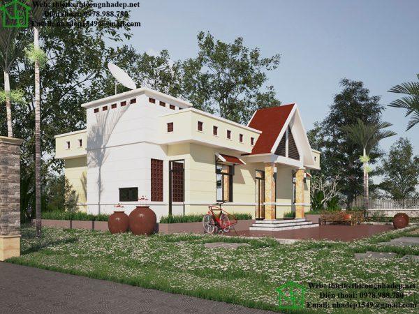 Mẫu thiết kế nhà mái bằng 1 tầng NDBT1T39