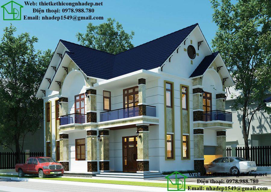 Mẫu nhà 2 tầng đẹp ở nông thôn, nhà 2 tầng mái thái NDBT2T33