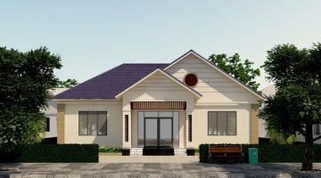 Thiết kế biệt thự nhà vườn 1 tầng mái thái tại Hòa Bình NDBT1T38