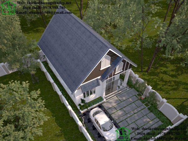 Phối cảnh tổng thể mẫu nhà cấp 4 nông thôn NDNC450