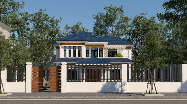 Mẫu nhà biệt thự hiện đại, biệt thự vườn 2 tầng mái thái tại Hòa Bình NDBT2T34