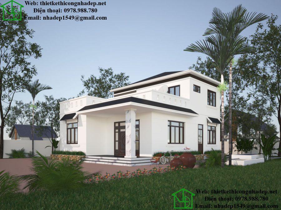 Biệt thự 2 tầng mái thái, biệt thự nhà vườn đẹp tại Nghệ An NDBT2T34