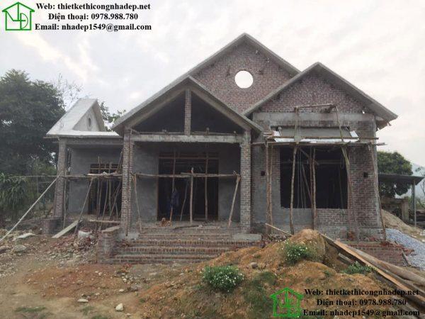 Hình ảnh xây thô biệt thự 1 tầng NDBT1T43