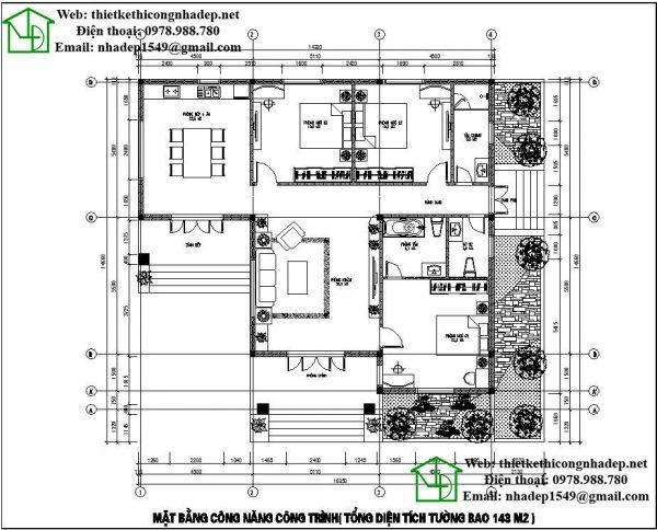 Mặt bằng bố trí nội thất nhà vườn 1 tầng NDBT1T43