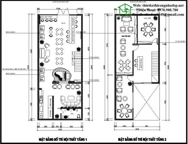Mặt bằng bố trí nội thất tầng 1 và tầng 2 quán cafe NDCF78