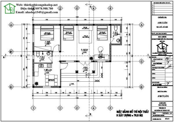 Mặt bằng nội thất nhà cấp 4 80m2 NDNC455