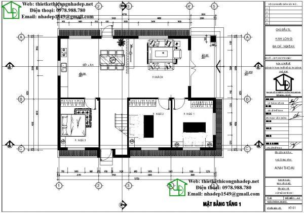 Mặt bằng tầng 1 biệt thự 2 tầng mái thái NDBT2T34