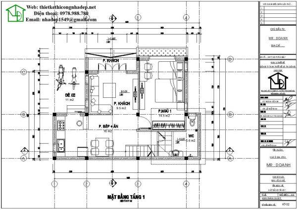 Mặt bằng tầng 1 nhà cấp 4 gác lửng NDNC451