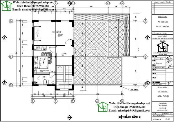 Mặt bằng tầng 2 biệt thự 2 tầng đẹp NDBT2T34