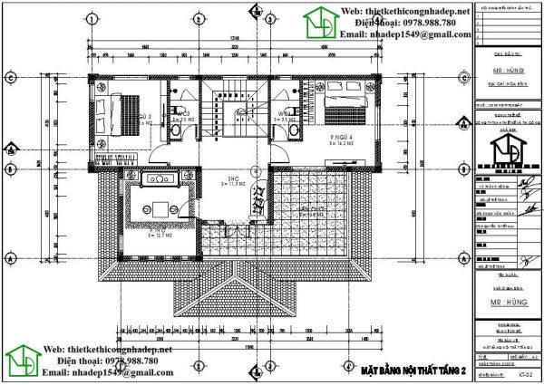 Mặt bằng tầng 2 biệt thự hiện đại NDBT2T34