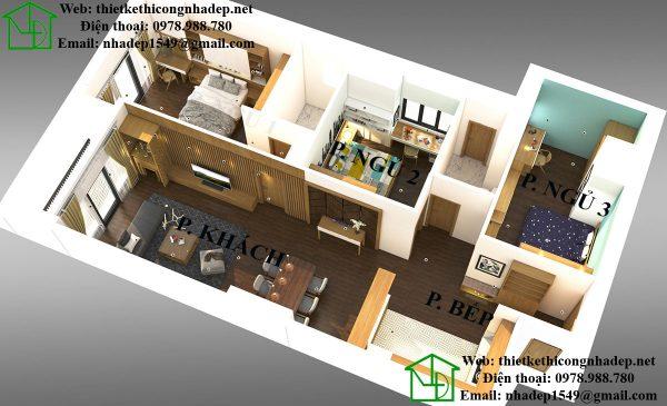 Thiết kế nội thất chung cư 3 phòng ngủ căn hộ Hồ Gươm Plaza
