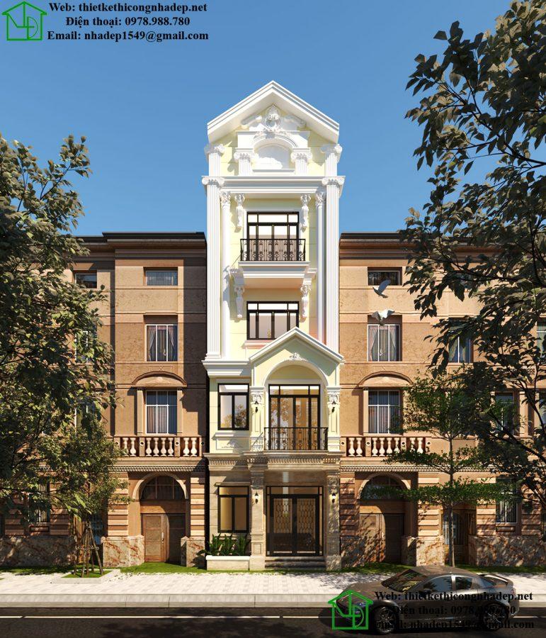 Nhà phố 5 tầng tân cổ điển, mẫu nhà phố 5 tầng tại Từ Liêm Hà Nội NDNP5T3