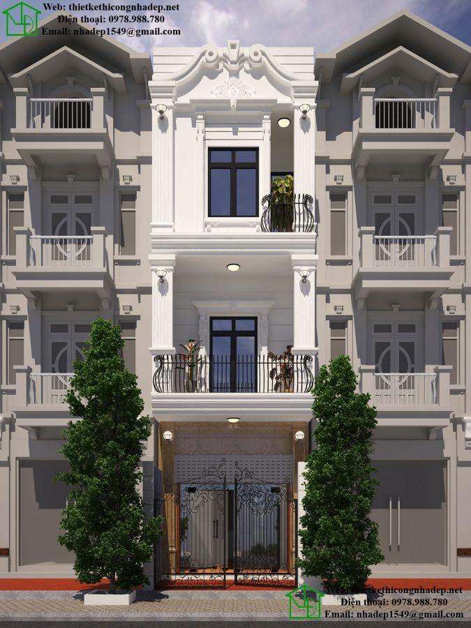Nhà phố 3 tầng tân cổ điển, mẫu thiết kế nhà phố tại Bắc Giang 4x17m NDNP3T15