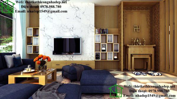 Thiết kế nội thất phòng khách, mẫu phòng khách đẹp tại Thái Nguyên NDNTPK4
