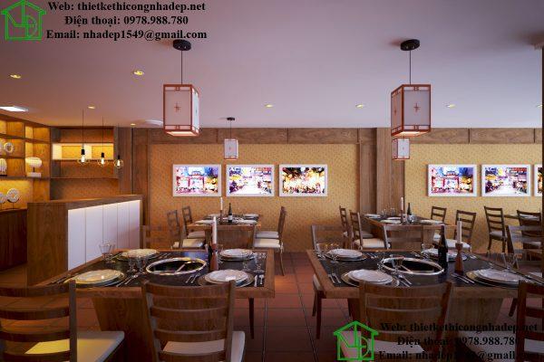 Thiết kế nội thất nhà hàng lẩu tầng 1 NDNH1