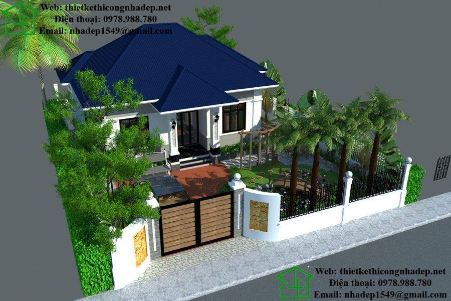 Thiết kế sân vườn biệt thự, mẫu biệt thự nhà vườn tại Bắc Ninh NDTKSV1