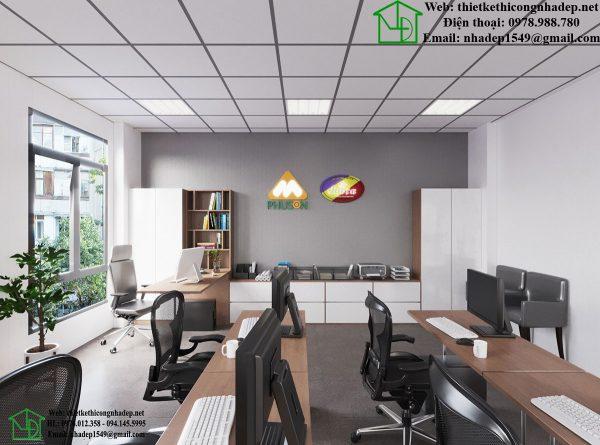 Thiết kế thi công nhà thép tiền chế, thiết kế văn phòng làm việc đẹp NDTKVP1